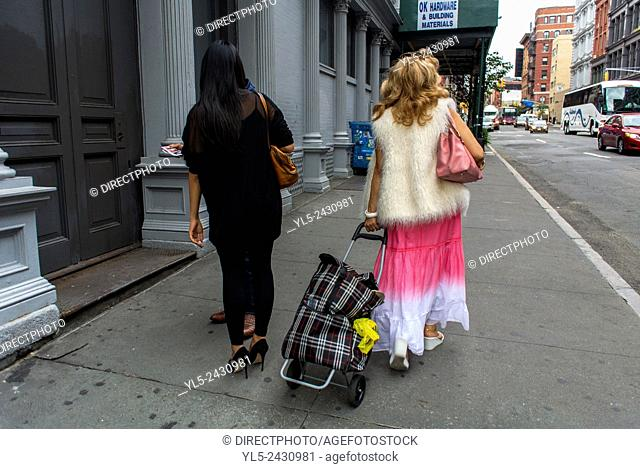 New York City, NY, USA, Women Walking Away, With Shopping Bags in Soho, on Street