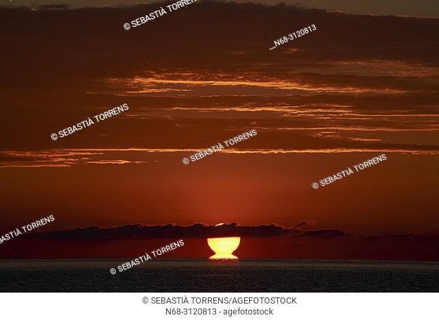 Raising sun at Pollensa bay, Majorca, Balearic Islands, Spain