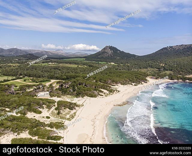 Cala Agulla, Natural area of special interest, municipality of Capdepera, Mallorca, Balearic Islands, Spain. Image taken during the Covid-19 pandemic lockdown