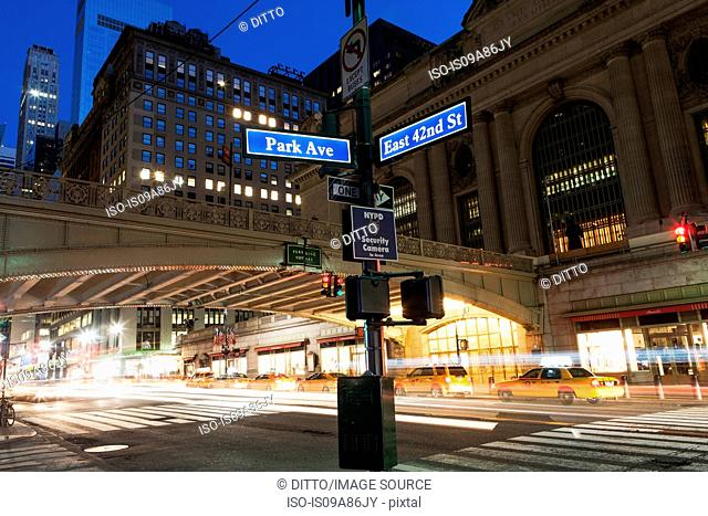 Street signs outside Grand Central Station, New York City, USA