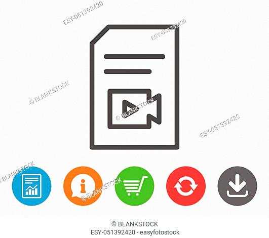 Document with Video content line icon. Vlog File with Camera sign. Paper page concept symbol. Report, Information and Refresh line signs