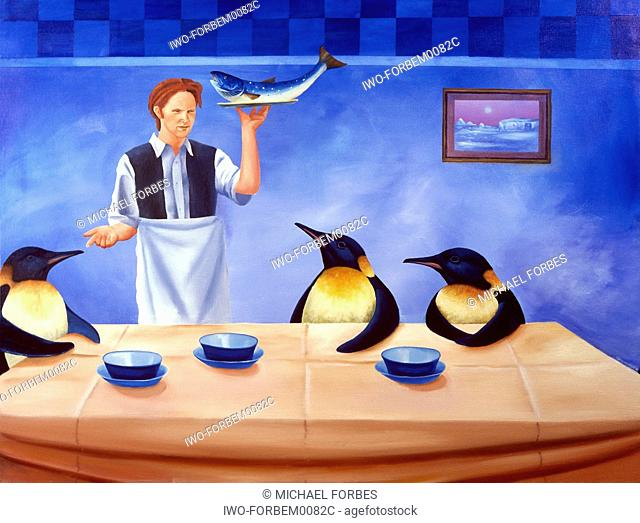 waiter serving an order of fish to penguin restaurant customers