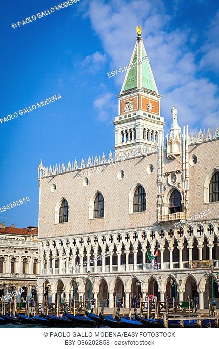Venice, Italy - Piazza San Marco in the morning, viewpoint from the canal