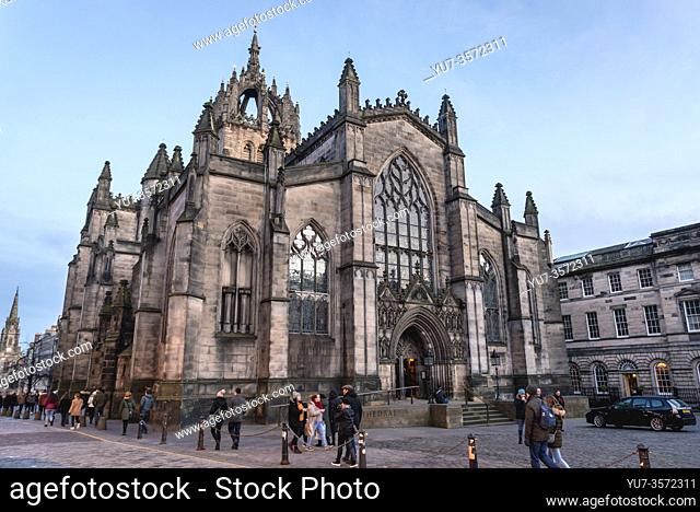 St Giles Cathedral also called High Kirk of Edinburgh in Edinburgh, the capital of Scotland, part of United Kingdom