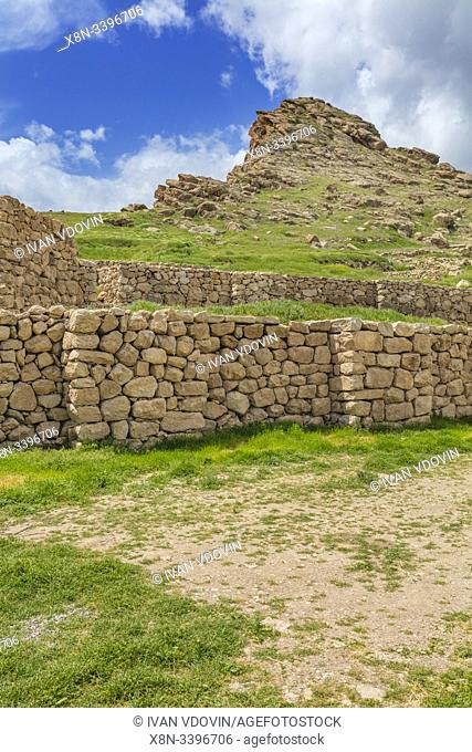 Ruins of Urarten fortress, 7th century BC, archeological site, Bastam, West Azerbaijan Province, Iran