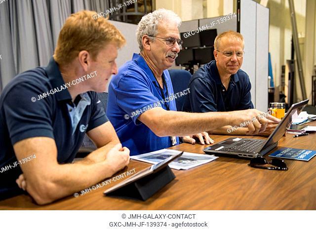 European Space Agency astronaut Timothy Peake (left), Expedition 4647 flight engineer; and NASA astronaut Tim Kopra (right)