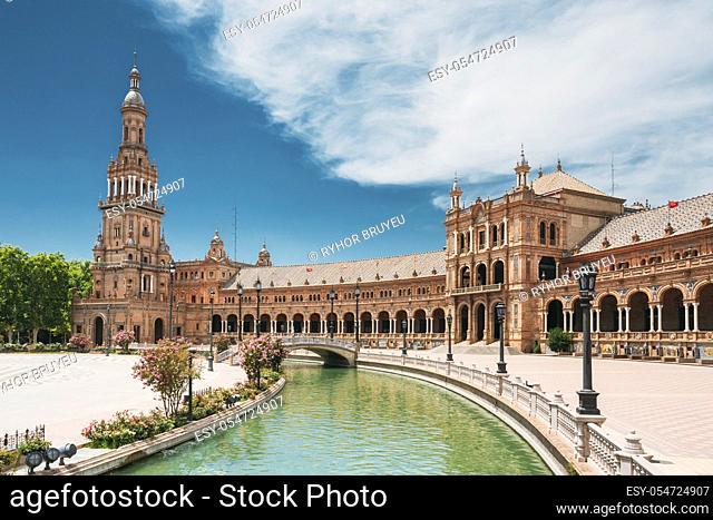 Seville, Spain. Canal Promenade Around Famous Landmark - The Plaza De Espana In Seville, Andalusia, Spain. Renaissance Revival Style. Spain Square