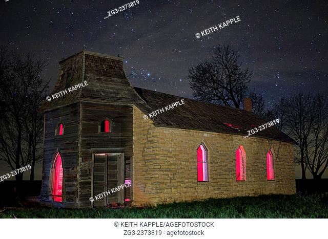 Starry night sky at an Abandoned Lost Lutheran Church in Kansas