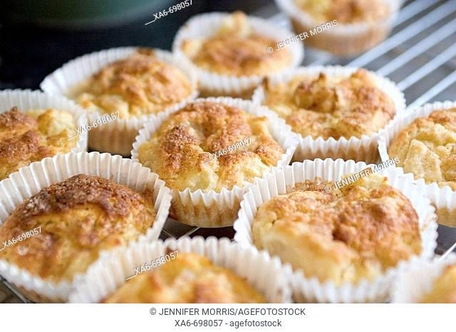 Freshly-baked apple muffins in paper cases sit on a cooling rack