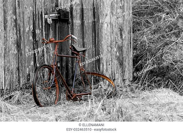 a rusty old bike leaning against a barn door