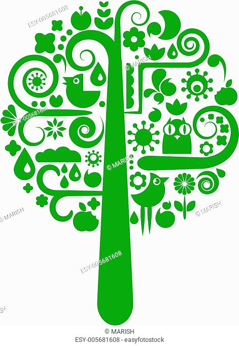 A vector tree with animal and flower icons