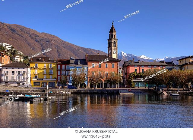 Lungolago Ascona, Ticino, Switzerland in the foreground the old port