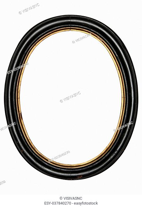 old oval picture frame wooden isolated white background