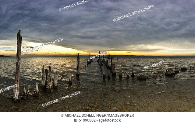 Dilapidated pier on the shore of the Ueberlinger See Lake, Bodenseekreis, Baden-Wuerttemberg, Germany