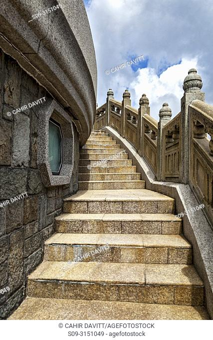 Architectural detail of steps surrounding the plinth of the Tian Tan Buddha Statue, Ngong Ping Village complex, Lantau Island, New Territories, Hong Kong, S