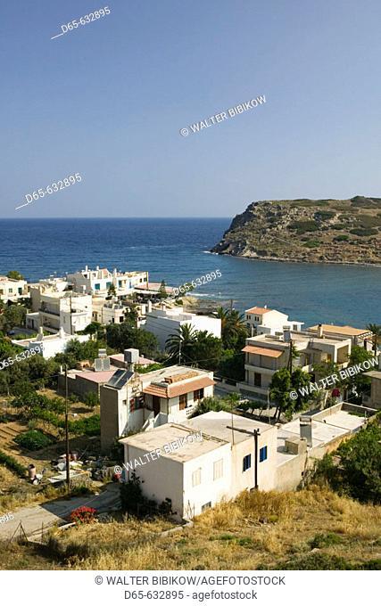 Resort town view with Agios Nikolaos Island. Mohlos. Lasithi Province. Crete. Greece