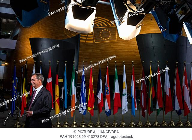 dpatop - 23 October 2019, France (France), Straßburg: Nigel Farage, Chairman of the British Brexit Party, is standing in the European Parliament building during...