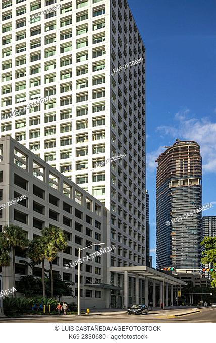 8th Street and Brickell Ave. Buildings. Downtown Miami. Florida. USA
