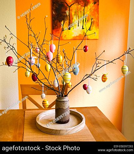 Easter tree decorated with colorful Easter eggs
