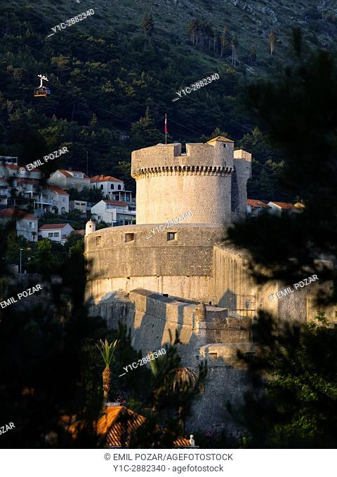 Dubrovnik Croatia old town Minceta fort and cablecar