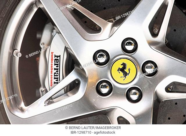 Car wheel with Ferrari logo at the IAA International Motor Show 2009, Frankfurt am Main, Hesse, Germany, Europe