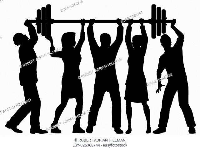 EPS8 editable vector silhouette of a business team working together to lift a heavy weight barbell with all figures as separate objects