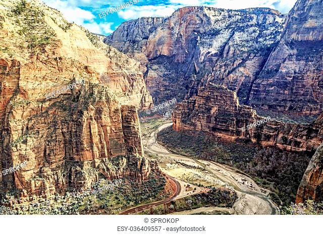 A view of Big Bend from the top of the cliffs of Zion National Park at Scout's Lookout near Angels Landing