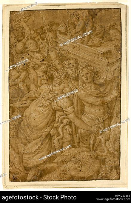 Cupid in Triumphal Chariot, Accompanied by Gods and Goddesses - Follower of Giulio Pippi, called Giulio Romano Italian, c