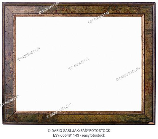Rusty Wooden Picture frame Isolated with Clipping path