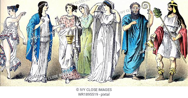 The figures illustrate, from left to right, five ancient Greek women (from different classes and in a variety of outfits) and two ancient Greek actors (the one...