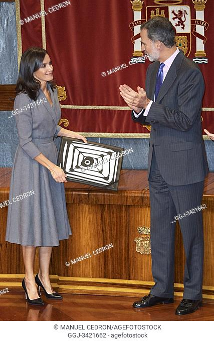 King Felipe VI of Spain, Queen Letizia of Spain attends the delivery the Award of the Observatory against Domestic and Gender Violence 2019 at Consejo General...