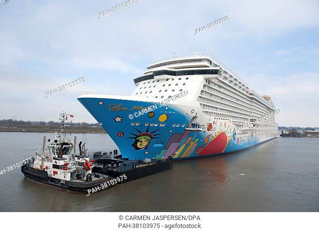 The 'Norwegian Breakaway' leaves the port of the Meyer warf in Papenburg, Germany, 13 march 2013. Thereby begins the delivery voyage of the 324m long and 40m...