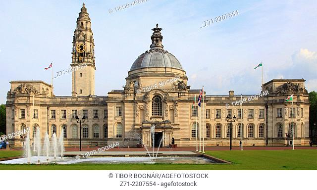 UK, Wales, Cardiff, City Hall,