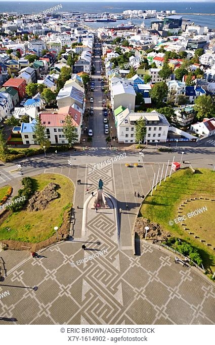 View from the bell tower of Hallgrímskirkja church, Reykjavik, Iceland