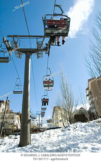 Chairlifts, Sierra Nevada. Granada province, Andalusia, Spain