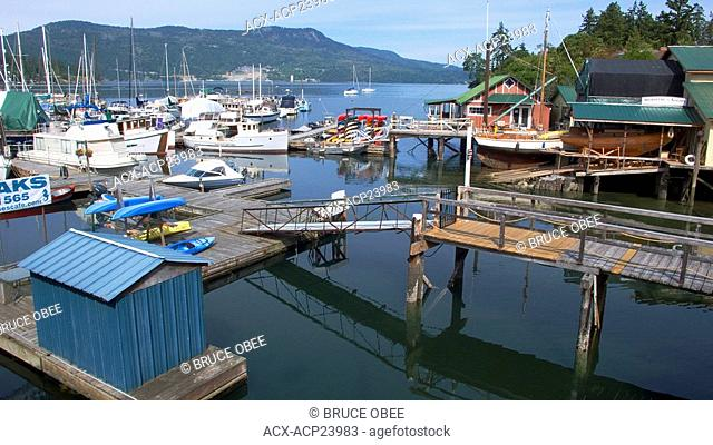 Boats and marinas at Brentwood Bay in Vancouver Island's Saanich Inlet, British Columbia, Canada