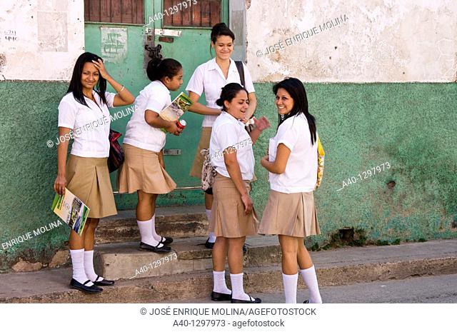 Honduras. Comayagua. Students in the street