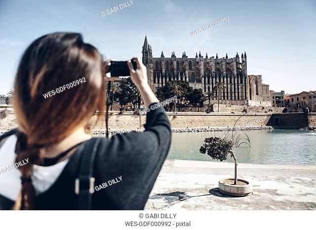 Spain, Mallorca, Palma, tourist taking picture of La Seu cathedral