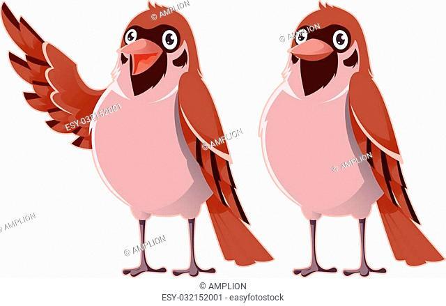 Vector image of a happy cartoon greeting sparrows