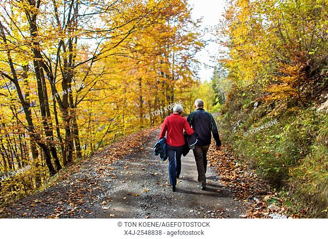 Couple walking during autumn in the French Alps