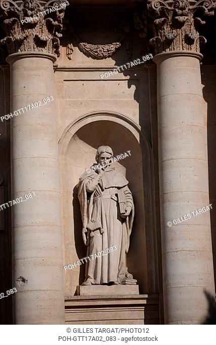 France, Ile de France region, Paris, place de la sorbonne, facade of the Sorbonne Chapel, boulevard Saint Michel, Photo Gilles Targat