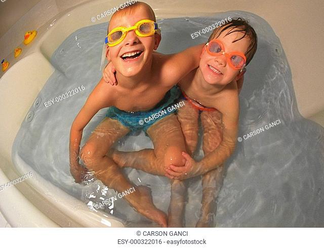Two children in bathtub