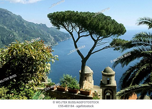 Panorama from Church of SS. Annunziata by Villa Rufolo, Ravello, Amalfi coast. Campania, Italy