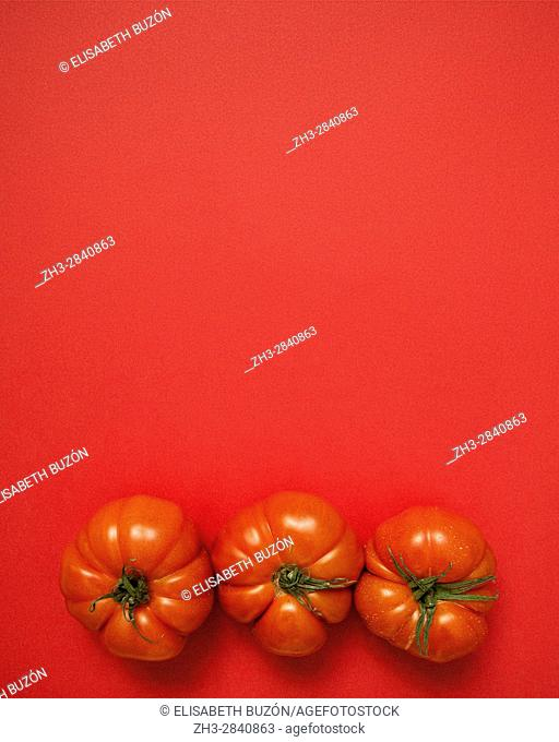 Red tomatoes on red background