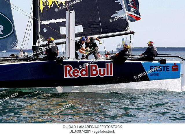 Sailing: Redbull Sailing Team with Roman Hagara as a Skipper. Extremesailing round 4 at Baia de Cascais, Cascais, Portugal