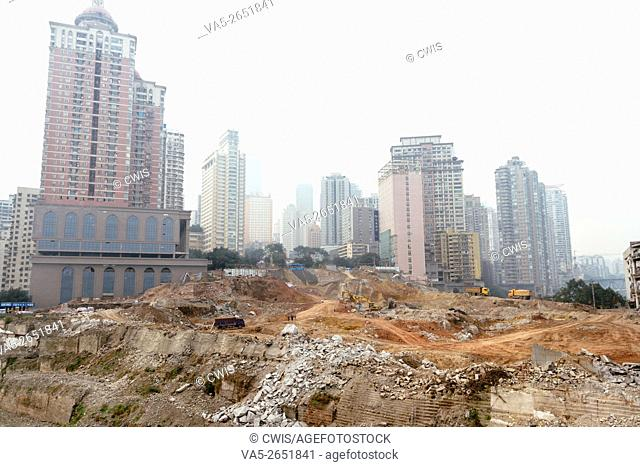 Chongqing, China - The demolition site in Chaotianmen Square in the daytime