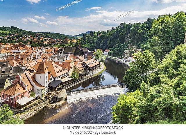 View of the river Vltava and the Krumlov mill. The Krumlov mill is located in the old town of Cesky Krumlov, Bohemia, Jihocesky Kraj, Czech Republic, Europe