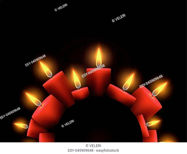 Semicircle frame with red luminous candles and place under the text. Element for writing condolences, Christmas cards and your design