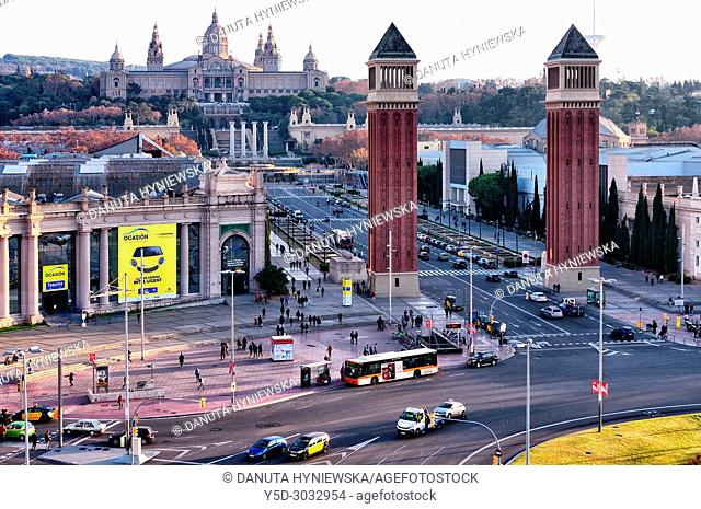 Plaça d'Espanya - Plaza Espana, in background Reina Maria Cristina Avenue with Twin Venetian towers and Palau Nacional - Museu Nacional d'Art de Catalunya MNAC...