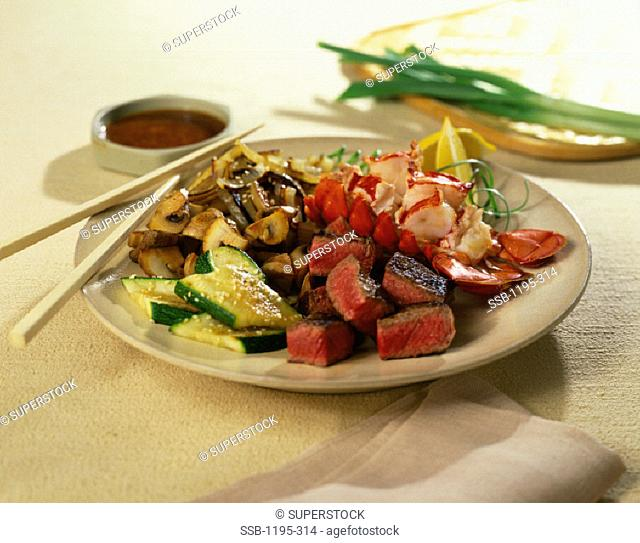Beef and Lobster Tail Stirfry